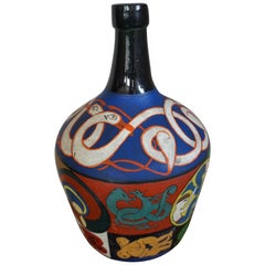 Decorative and Artistic Hand-Painted Bottle Folk Art with Colorful Symbolism