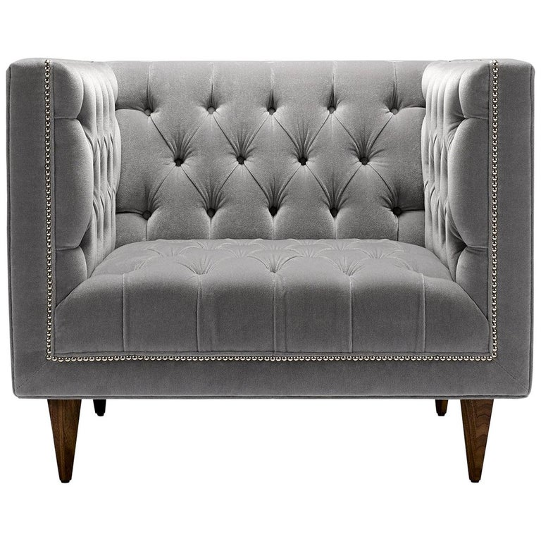 Contemporary Tux Chair in Mohair Velvet with Walnut or Oak Legs