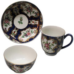 Royal Worcester 18th Century, Blue Scale Trio with Floral Panels