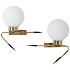 Midcentury French Brass and Opal Glass Sconces by Maison Arlus, 1950s