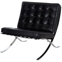 21st Century Modern Black Leather and Chrome Steel Barcelona Chair