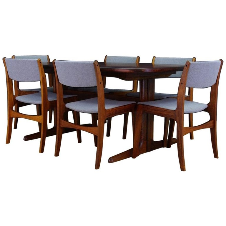 Set of 8 Skovby Danish Rosewood Upholstered High Back Dining Chairs ...
