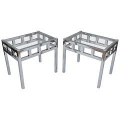 Pair of Chrome and Glass Mid-Century Modern End Tables in Milo Baughman Style