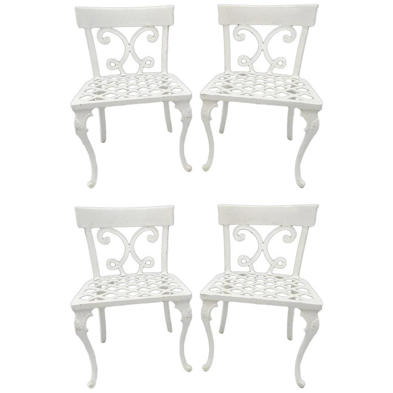 Neoclassical Regency Style Cast Aluminum Garden Patio Dining Chairs Set of Four