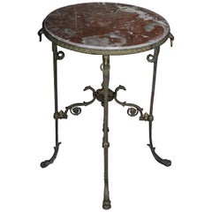 French Side Table Empire Bronze with Marble Top