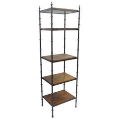 Italian Hollywood Regency Faux Bamboo Iron and Wood Etagere Narrow Curio Shelf