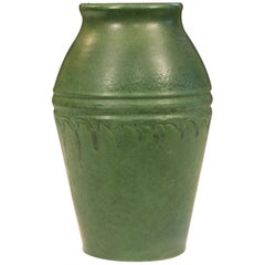 Wheatley Pottery Matt Green Arts & Crafts Antique Leathery Silvery Vase