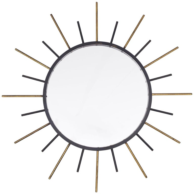 1950s French Sunburst Mirror, Brass and Blackened Steel