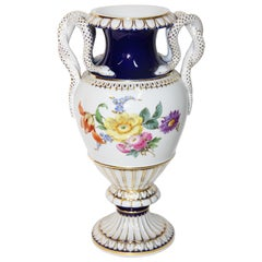 Meissen Porcelain Snakes Handle Vase, 1st Quality, Cobalt and Gold Painting