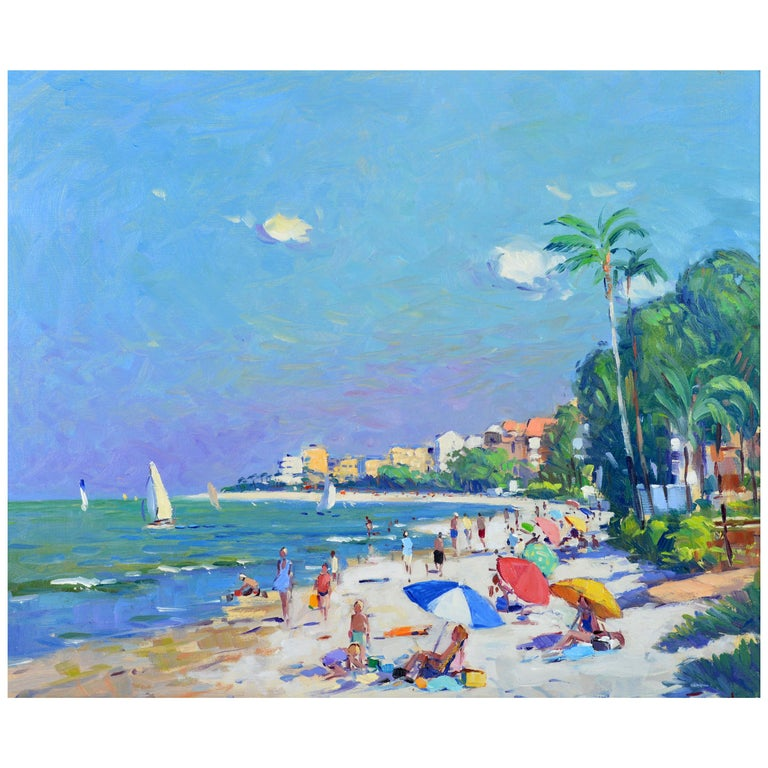 'Naples Beach, Florida' by Niek Van Der Plas, Well Listed Dutch Impressionist For Sale