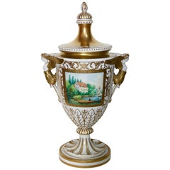 Dresden Porcelain, Amphora, Lid Vase, Urn, with Gold Painting
