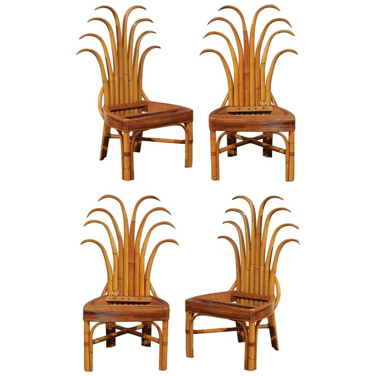 Jaw-Dropping Unique Pair of Custom-Made Palm Frond Chairs, circa 1950 For Sale
