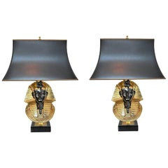 Pharaoh Table Lamps by Maison Jansen for Deknudt, Hollywood Regency, circa 1970