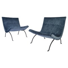Early Pair of Milo Baughman Scoop Lounge Chairs, circa 1950