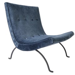 Early Milo Baughman Scoop Lounge Chair with Velvet Upholstery, circa 1950