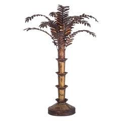 Maison Jansen Style Palmtree Table Lamp in Copper