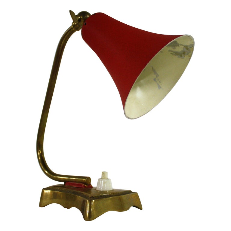 Vintage Red Table Lamp, 1950s