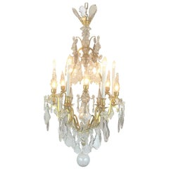 20th Century French Crystal Gilt Bronze Chandelier with Crystal Pinnacles  1900