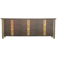 Modern Carpathian Elm Burl and Brass Nine-Drawer Dresser by Mastercraft