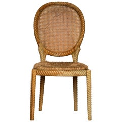 Italian Carved Wood Rope Chair