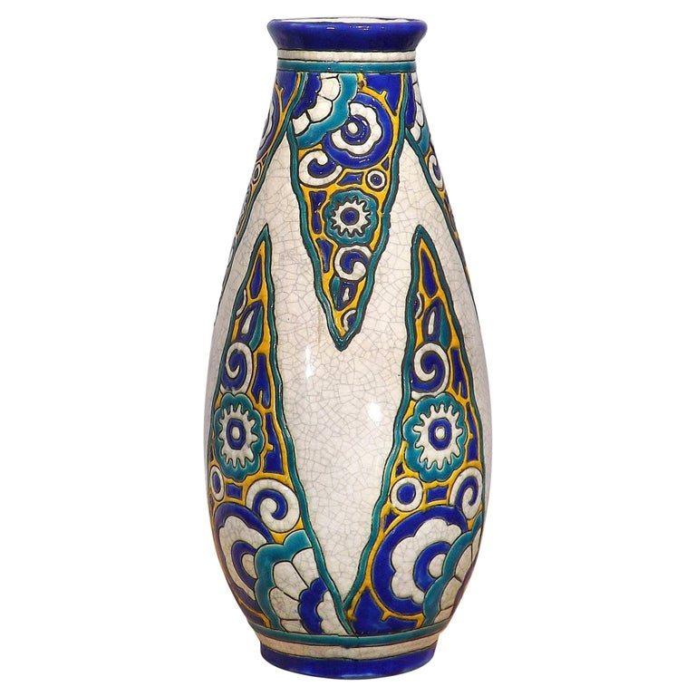 Art Deco Abstract Vase with Cobalt and Yellow by Boch Freres Keramis, 1920s