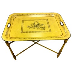 Tole Signed Butler Table Made in Italy Numbered Harvest Yellow Removable Tray