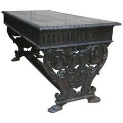 Antique Historicism Oak Writing Desk