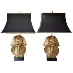 Maison Jansen for Deknudt Pharaoh Table Lamps, Hollywood Regency, circa 1970