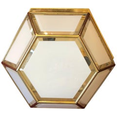 Mid-Century Modern Italian Brass and white Glass Ceiling Light, circa 1970