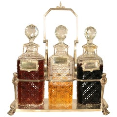 Silver Plate Liquor Decanter Caddy, Original Cut Crystal Bottle, Stopper, Label