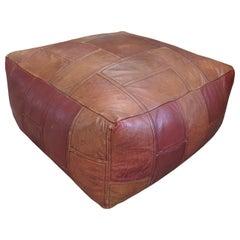 Vintage Patch Leather Ottoman Pouf