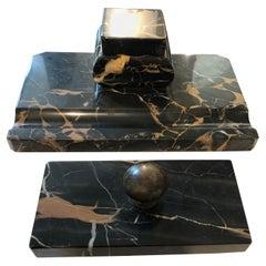 Art Deco Portoro Marble Italian Desk Set, circa 1930