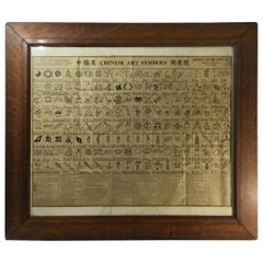 Antique Chinese Art Symbols Culture Chart Wall Hanging