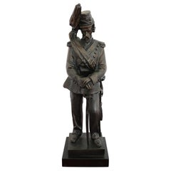 19th Century French Sculpture in Bronze Napoleonic Army Cavalry Soldier Figure