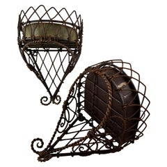 19th Century French Twisted Wire Hanging Jardinière Plant Holder with Tin Liner