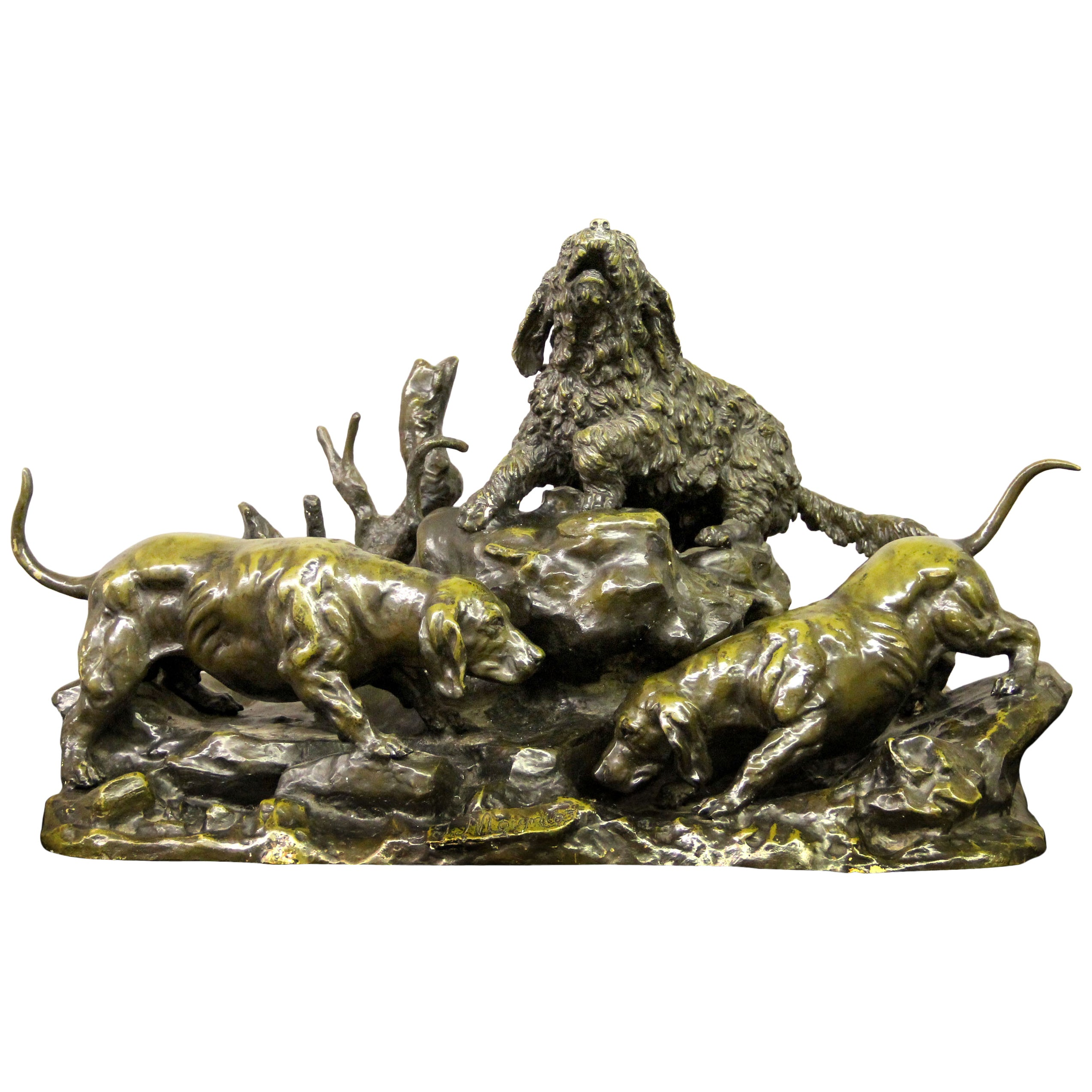 "Late 19th Century Bronze Dog Sculpture Entitled ""Perros de Caza"" Jules Moigniez"