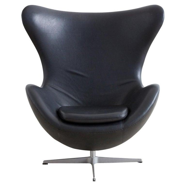 Arne Jacobsen for Fritz Hansen Black Egg Chair