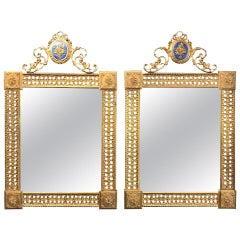 Pair of Louis XVI Style French Gilt Bronze Amp Enamel Pierced Mirrors