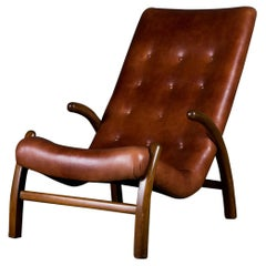 Danish Lounge Chair in Leather