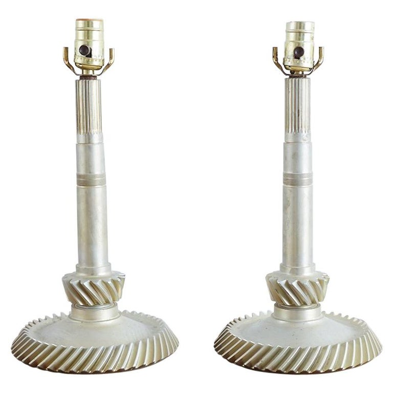 Pair of Industrial Machine Age Gear Table Lamps