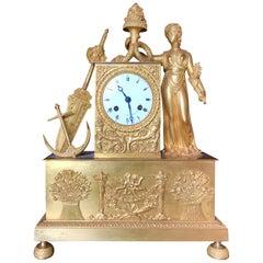19th Century French Figural Mantel Clock, Maritime Theme