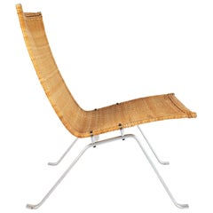 PK-22 Lounge Chair in Steel and Rattan, Designed by Poul Kjærholm