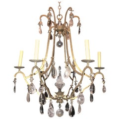 Wonderful Mid-Century Modern Gold Baguès Rock Crystal Beaded Jansen Chandelier