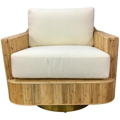 Milo Baughman Style Cased Bamboo Swivel Chair