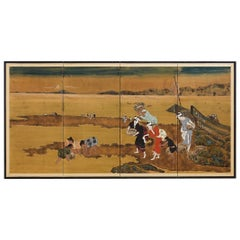 Japanese Byobu Shell Gathering After Katsushika Hokusai