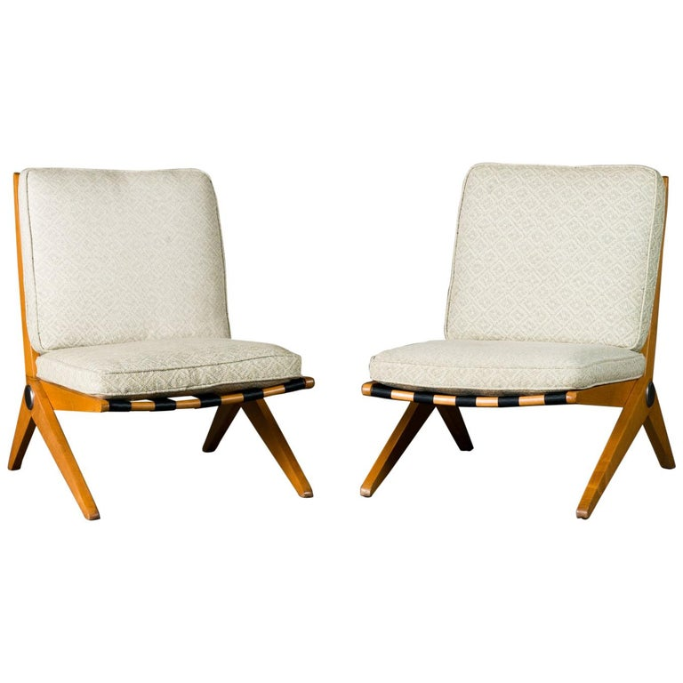 Pair of Jeanneret 'Scissor' Lounge Chairs