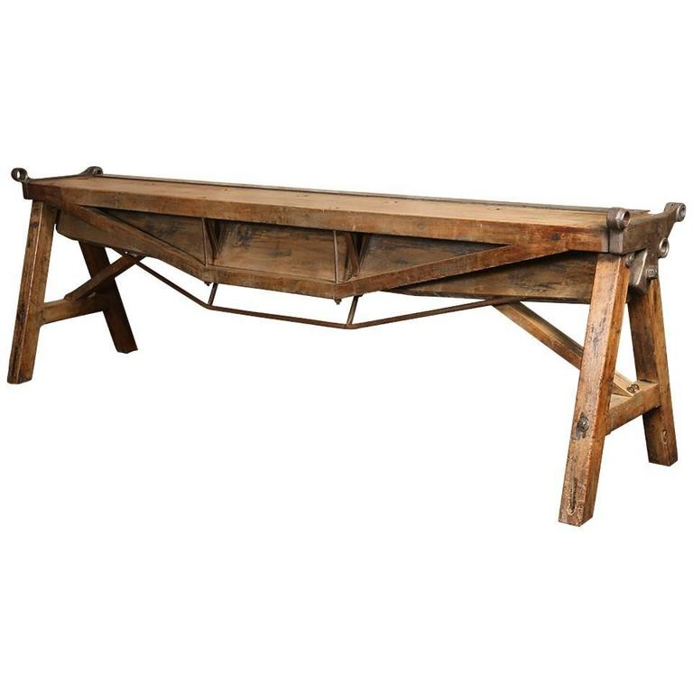 Rustic Antique Industrial Cast Iron, Steel and Wood Factory Brake Table, Stand 1