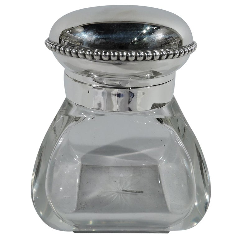 Antique American Edwardian Sterling Silver and Glass Candy Jar
