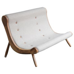 Eye, Contemporary Wool Upholstered Two-Seat with Asymetrical Conical Walnut Legs