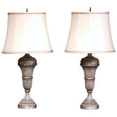 Pair of 19th Century Carved Painted Table Lamps with Custom Shades